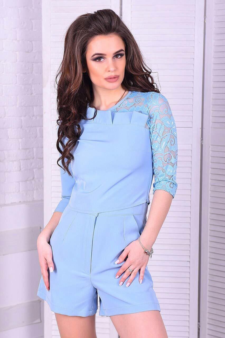 """Элегантный женский костюм топ+шорты с кармашками """"Костюмная"""" 42, 44 размер норма"""