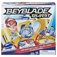 Набор Бейблейд желтая арена 4 угла 2 волчка с пускателями  Beyblade Epic Rivals Battle SetB9498