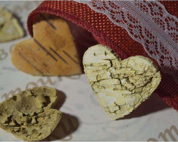 Сердечки из коры для новогоднего декора