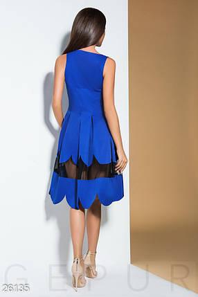Летнее платье расклешенное с прозрачной вставкой миди без рукав синее, фото 2