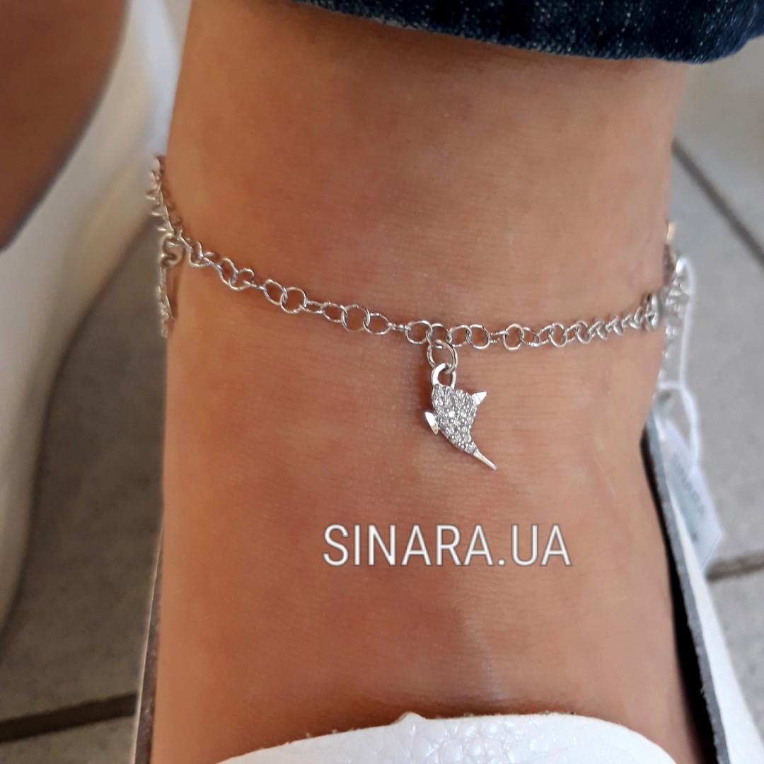 Серебряный браслет на ногу с висюльками - Браслет на ногу серебро 925