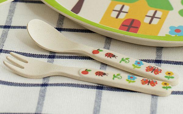 Набор детской экологической посуды из бамбукового волокна, 5 предметов - Домик в саду