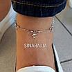 Срібний браслет на ногу Шанель - Браслет на ногу з висульками срібло 925 Шанель, фото 5