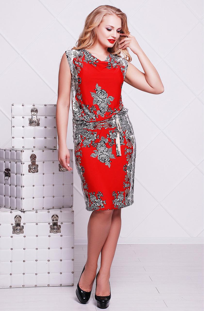 Яркое нарядное красное летнее платье женское с внутреннимпоясом трикотаж масло