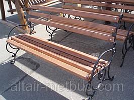 """Лавка садово-паркова з підлокітником""""Захід"""" з металевими ніжками№2(9.1)"""