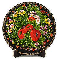 Тарелка деревянная. Украинский сувенир. Петриковская роспись. Анютины глазки., фото 1