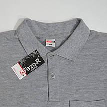Мужская футболка Поло, размеры:46-56, премиум качество, 100% хлопок, тенниска с карманом - светло-серая меланж, фото 3