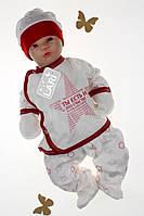 Комплект на виписку новонароджених з распашонкой, штаниками і шапочкою,Зірочка