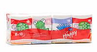 Платочки носовые трехслойные bella happy, спайка 8х10 шт.