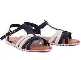 Супер цена 36-40р Кожаные ( экокожа) босоножки сандалии пр.Турция (белые и черные переплетения)
