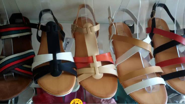 Супер цена 39 размер Кожаные ( экокожа) босоножки сандалии пр.Турция (бежевые и белые переплеты), фото 2