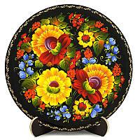 Тарелка деревянная. Украинский сувенир. Петриковская роспись., фото 1