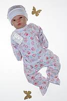 Комплект для новонароджених з распашонкой, штаниками і шапочкою