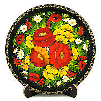 Тарелка деревянная. Украинский сувенир. Петриковская роспись. Мак-подсолнух, фото 1
