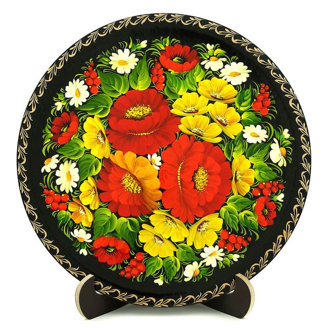 Деревянная тарелка, расписанная в технике Петриковская роспись. Мак-подсолнух
