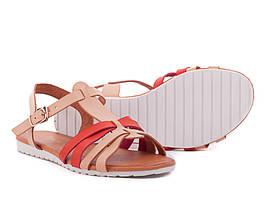Супер цена 36-39р Кожаные ( экокожа) босоножки сандалии пр.Турция (бежевые)