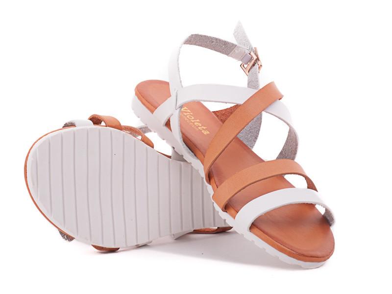 Супер цена 39 размер Кожаные ( экокожа) босоножки сандалии пр.Турция (бежевые и белые переплеты)