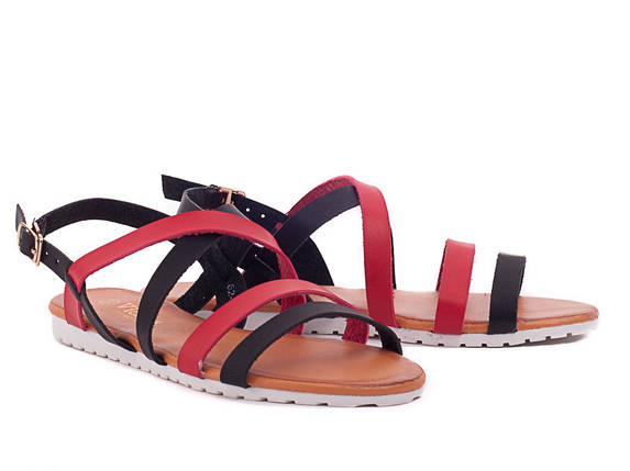 Супер ціна 36-40р Шкіряні ( екошкіра) босоніжки, сандалі пр. Туреччина (чорні і червоні палітурки), фото 2