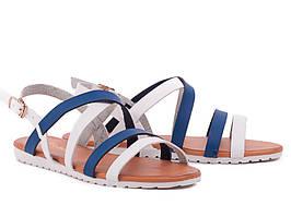 Супер цена 37р и 38р  Кожаные ( экокожа) босоножки сандалии пр.Турция (белые и синие переплеты)