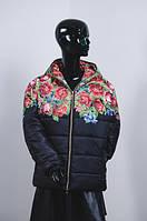 """Женская зимняя куртка в украинском стиле""""Маки"""""""