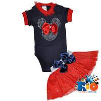 Детский костюм: бодик, юбка, трикотажный, для девочки 3-6-9 мес (3 ед в уп)