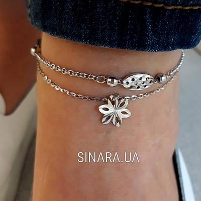 Серебряный браслет на ногу без камней - Браслет на ногу Серебро 925