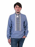 Синя чоловіча вишиванка на довгий рукав з сіро-білим орнаментом ручної  роботи be0f4593604ac
