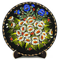 Тарелка деревянная. Поле ромашек. Украинский сувенир. Петриковская роспись., фото 1