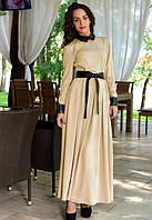Черно бежевое платье в пол с кожаным поясом Д-254