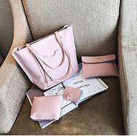 Жіночі сумки рожеві в наборі + міні сумочка + клатч 4в1 опт, фото 1