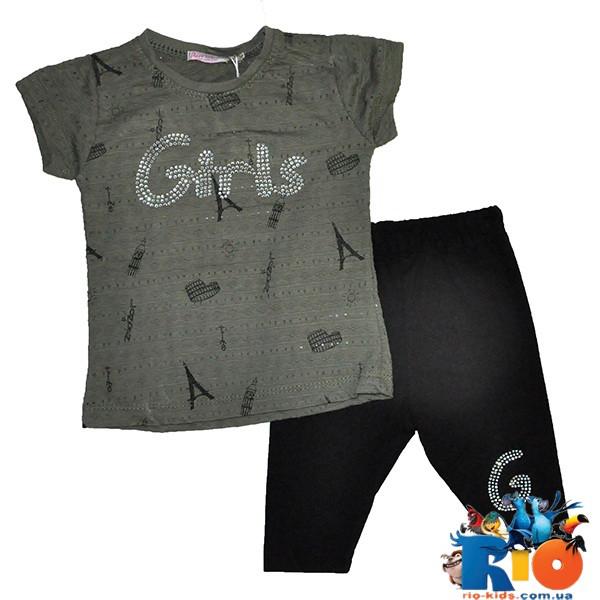Костюм детский: футболка (тонкая сетка) и бриджи, для девочек 1-4 года (4 ед в уп)