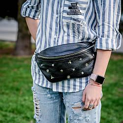 Поясная женская сумка из натуральной кожи любого цвета