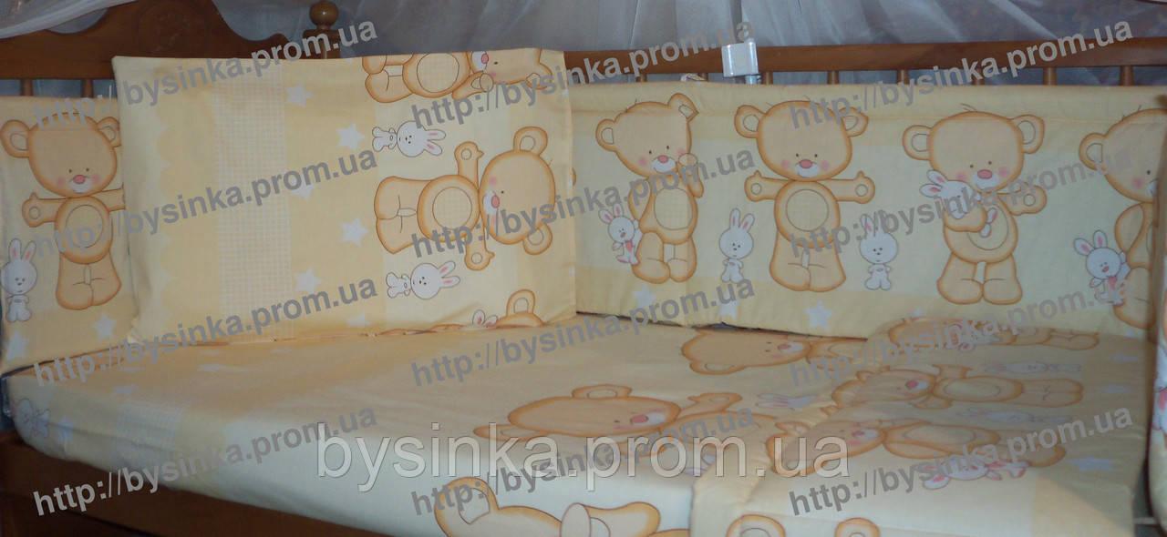Постельное белье в кроватку новорожденного из 6 ед.(без балдахина и кармана). Мишки с зайкой