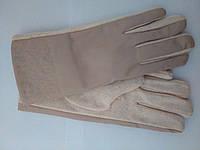 Женские кашемировые перчатки с накладкой из кожзама бежевые , черные