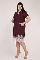 Летнее бордовое платье большего размера 56, 58