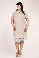 Льняное женское приталенное платье большой размер 60
