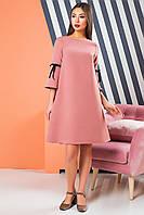 Креповое платье цвета пудра с игривыми бархатными бантами