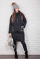 Женская черная длинная куртка для зимы. Теплая