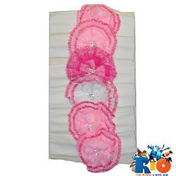 Детская повязка на голову, трикотаж, для девочки 0-6 мес ( 6 ед. в уп, цена за уп)