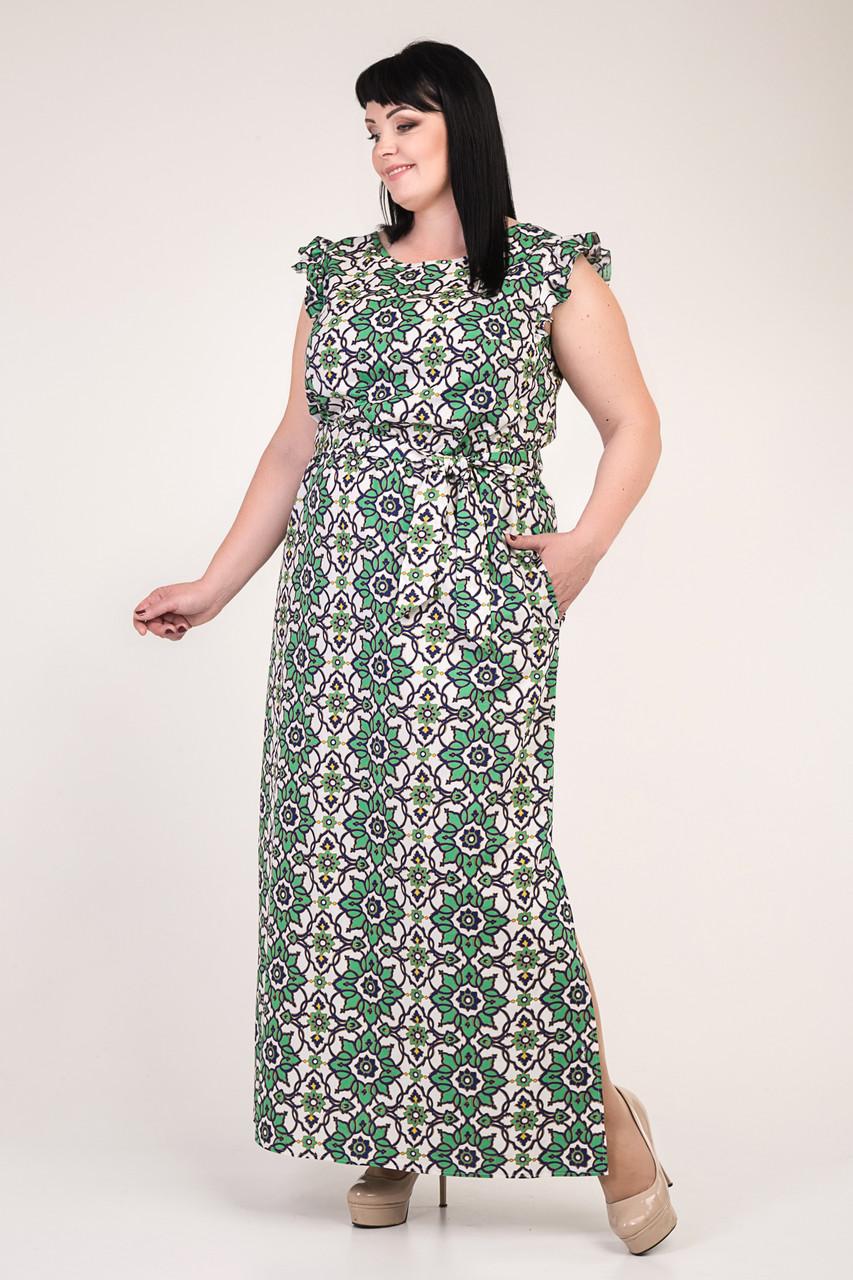 Летнее длинное женское платье с зеленым цветочным узором