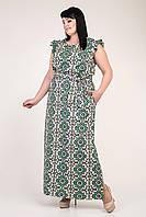 Летнее длинное женское платье с зеленым цветочным узором, фото 1
