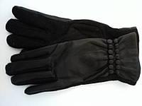 Женские кашемировые перчатки с накладкой из кожзама черные