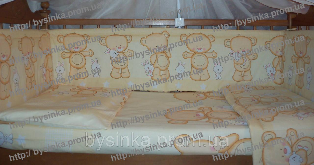 Постельное белье в кроватку новорожденного из 8 ед. Мишки с зайкой