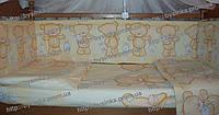 Постельное белье в кроватку новорожденного из 8 ед. Мишки с зайкой, фото 1