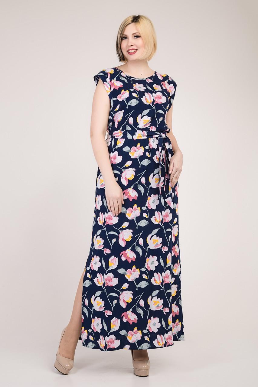 Красивое длинное женское платье с цветочным узором, темно-синее