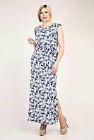 Летнее длинное женское платье белого цвета с синими цветами, фото 1