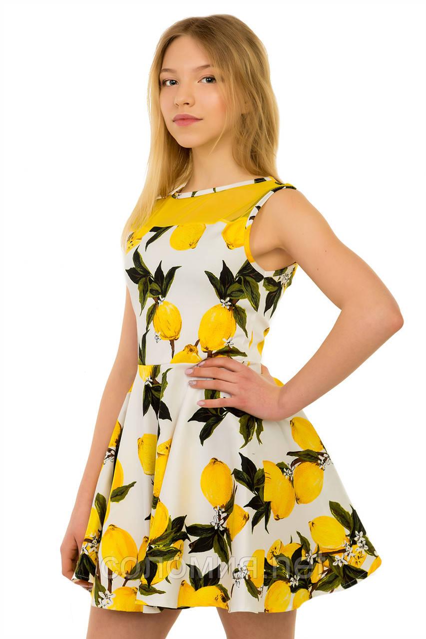 Очаровательное летнее платье с оригинальным принтом для девочек 134-164р