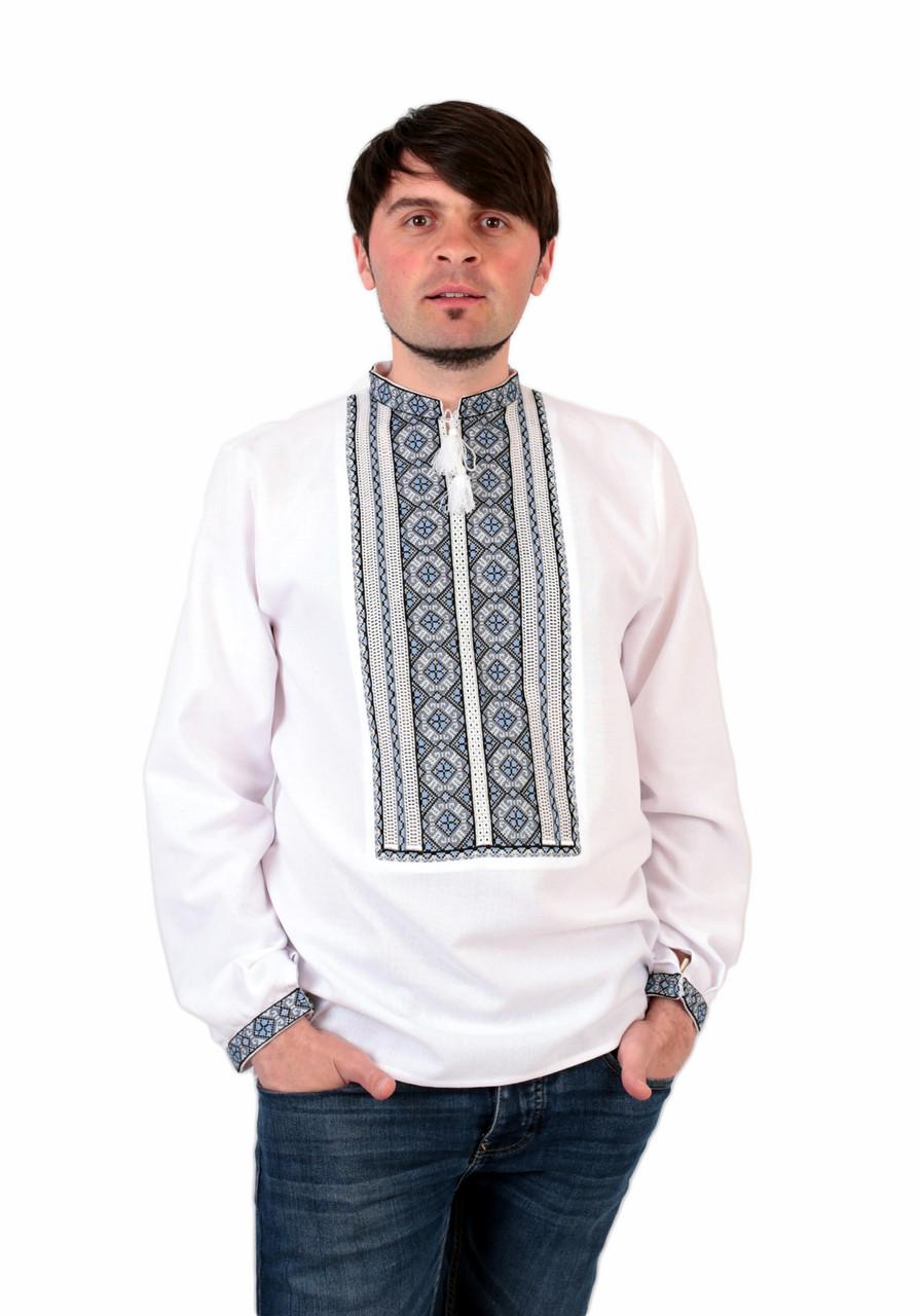 Біла чоловіча вишиванка на довгий рукав із сірим орнаментом ручної роботи