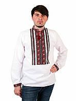 Біла чоловіча вишиванка на довгий рукав з червоним орнаментом ручної роботи
