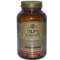 Solgar, DLPA, фенилаланин свободная форма, 500 мг, 100 капсул